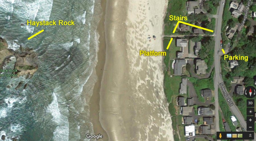 Take Haystack Rock photos from the stairs